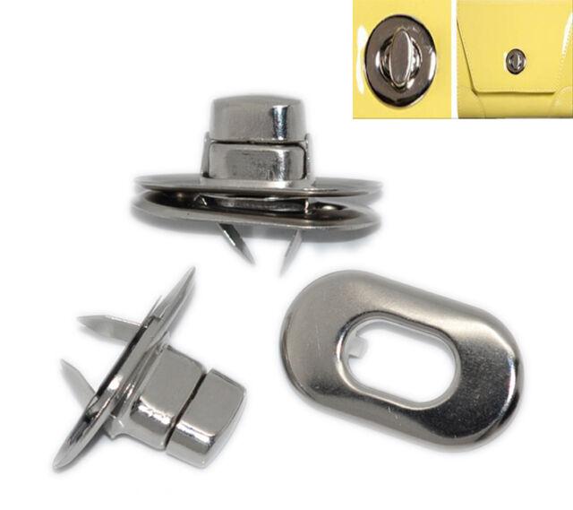 10 Sets Silberfarbe Taschenverschluß Drehverschluß Verschlüsse 28x37mm