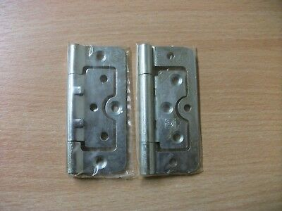8x 102mm x 40mm 4 Inch Hurlinge Mild Steel Brass Coated Flush Door Hinge