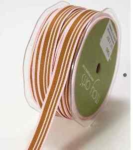5 Yds May Arts Reversible Earthtones Olive Army Green Blocked Stripes Ribbon 1//2