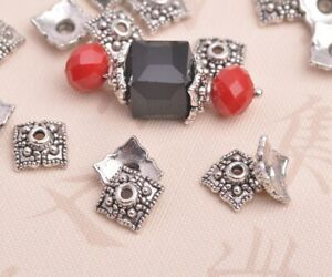 50pcs-10mm-Square-Tibetan-Silver-Bead-Caps-Charms-Spacer-Beads-Jewelry-Findings