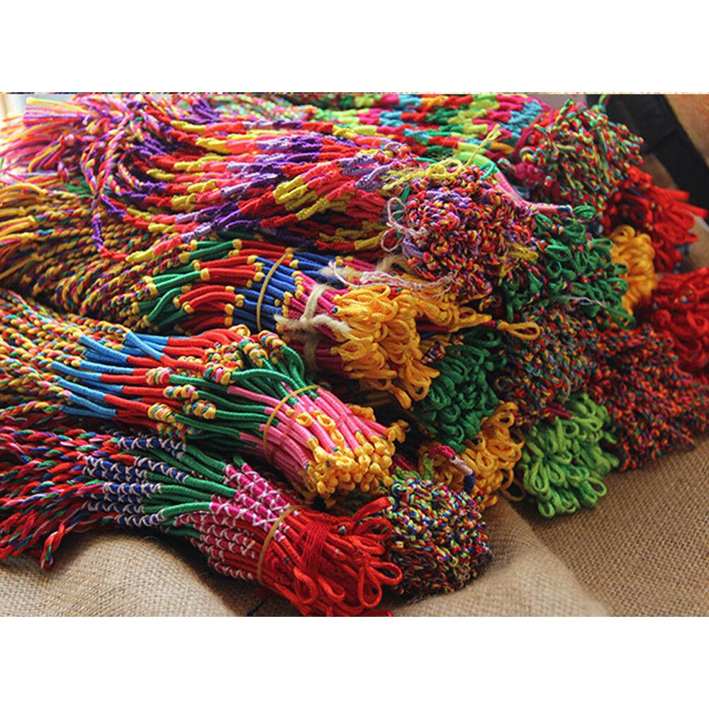 10//50Pcs String Lucky Colorful National Style Braid Strand Handmade Bracelet