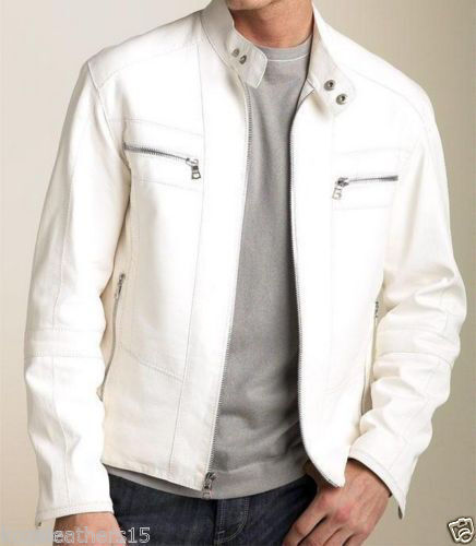 Mens Leather Jackets Motorcycle Bomber Biker White Real Leather Jacket Men NFS53