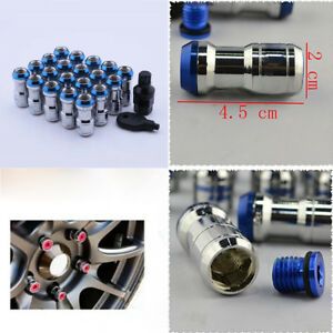 20X-M12-X1-5-Concealed-Lock-Nuts-Car-Lug-Wheel-Hub-Anti-theft-Blue-Alloy-Steel