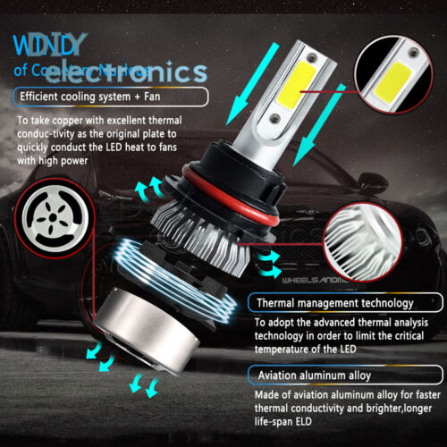 2pcs 72W H7 H1 H4 H3 H11 9005 9006 9007 880 C6 Car LED Light HeadLight 6000K US