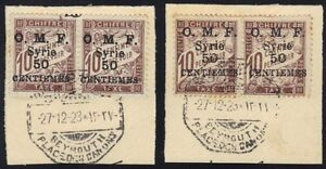 SYRIA-LEBANON-1920-TWO-PAIRS-034-O-M-F-SYRIE-034-OVPTS-THE-TWO-TYPES-THICK-amp-THIN-LETR
