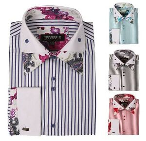 Men 39 S Fashion Casual French Cuff Dress Shirt With Double