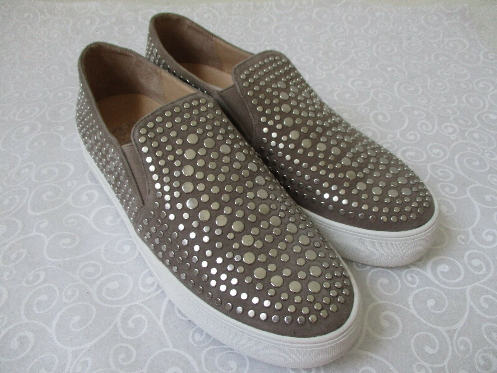 VINCE CAMUTO KINDRA FOXY/SILVER SUEDE LEATHER LEATHER SUEDE LOAFERS SIZE 9 M  - NEW b4926f
