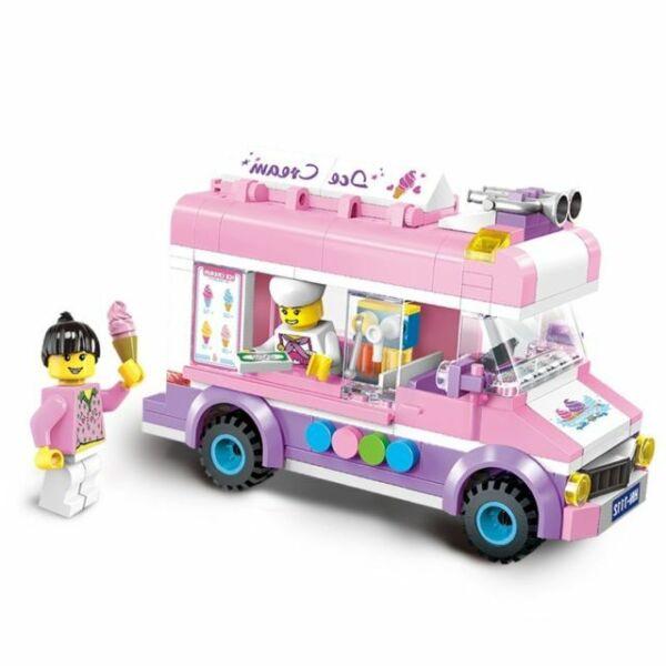 Ice Cream Truck Toy Model Building Blocks Assemblage Brick Children Plastic Toys