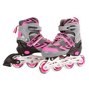 Kinder Inlineskates Inline Skates Inliner rosa pink / grau verstellbar Gr. 39-42