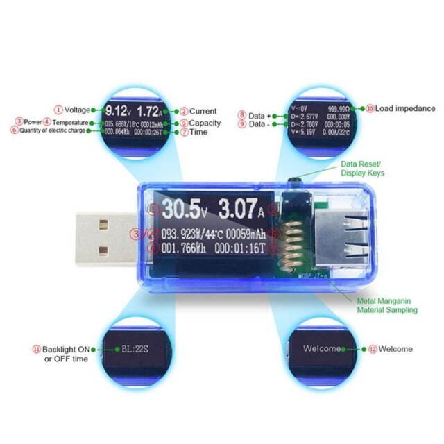 12In1 USB Tester DC Digital Voltmeter Voltage Current Meters Ammeter Detector