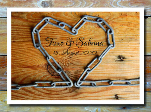Exklusives Liebesbild Herz Stahlkette Holz Verlobung Hochzeit Geschenkidee