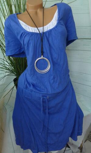 829 Lagen Look Sheego Kleid Damen Gr 40-58 Blau Weiß 2 in 1 Effekt