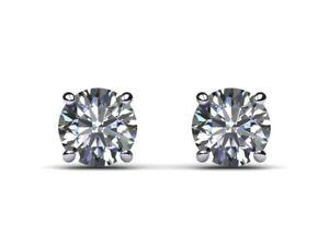 Real Natural Diamond 1/2 Carat D VVS2 Round Cut Stud Earrings 14k White Gold
