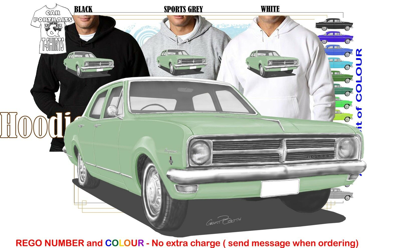68-69 HK HOLDEN SEDAN HOODIE ILLUSTRATED CLASSIC RETRO MUSCLE SPORTS CAR