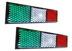 ITALIAN FLAG REFLECTOR STICKER X2 VESPA LAMBRETTA FIAT LANCIA DUCATI APRILIA