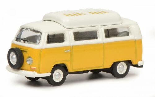 26444-1//87 SCHUCO VW T2a autobús que acampa con el techo cerrado nuevo amarillo blanco