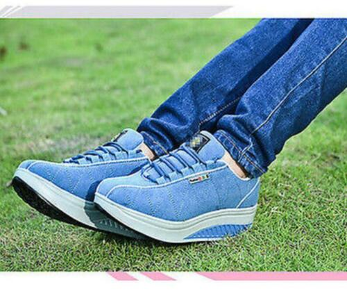 Hot Womens Shape Ups Walking Sports shoes Lace up Sneaker Running Suede shoes