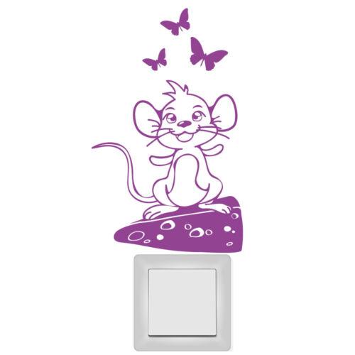 Wandtattoo 10656 Lichtschalter Steckdose Aufkleber Süße Maus Käse Kinderzimmer