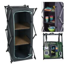 Foldable Camping Cupboard Tabletop with Aluminium Frame 2 Storage Compartments