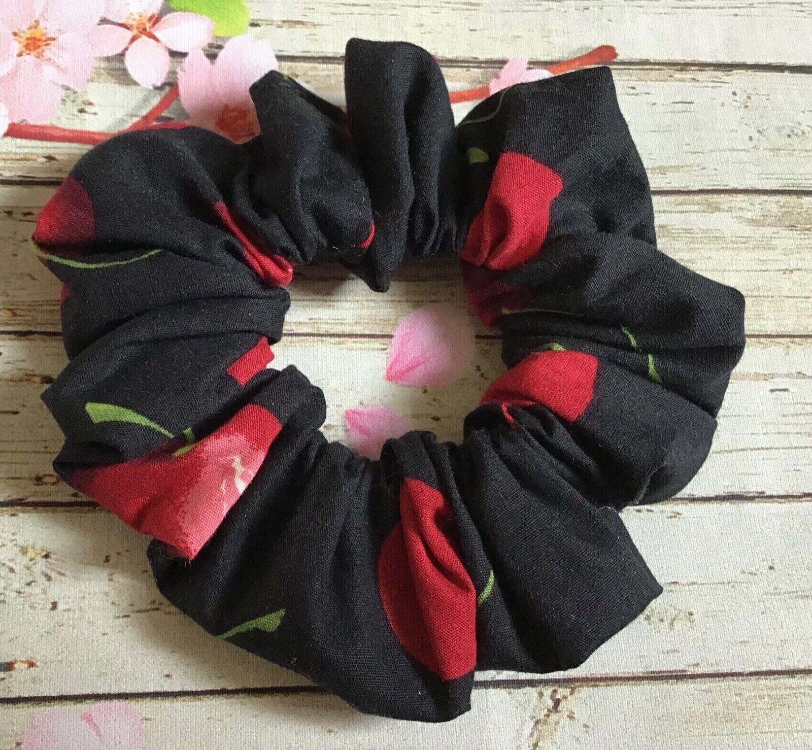 Black red Cherry cotton fabric hair scrunchie ponytail bun band stretch elastic