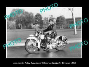 OLD-POSTCARD-SIZE-PHOTO-OF-LOS-ANGELES-POLICE-DEPARTMENT-HARLEY-DAVIDSON-c1930