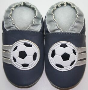 minishoezoo soft sole leather baby shoes Soccer grey 4-5 years