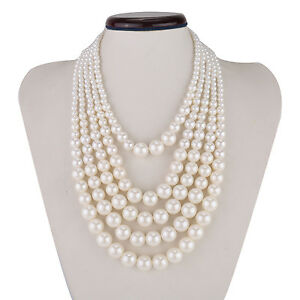 Fashion-White-5-Strands-Pearl-Chain-Chunky-Choker-Statement-Bib-Necklace