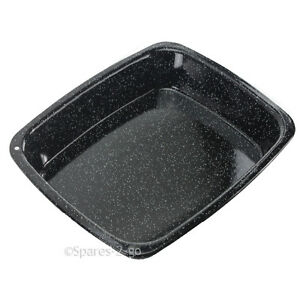 Vitreous-Enamel-White-Speckled-Roasting-Tin-Oven-Baking-Tray-Deep-Non-Stick-Pan
