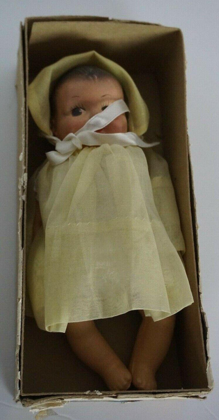 7 Antico composizione bambino UNMARKED in nobbikid Vestito Bambola Mezza Scatola Tedesco