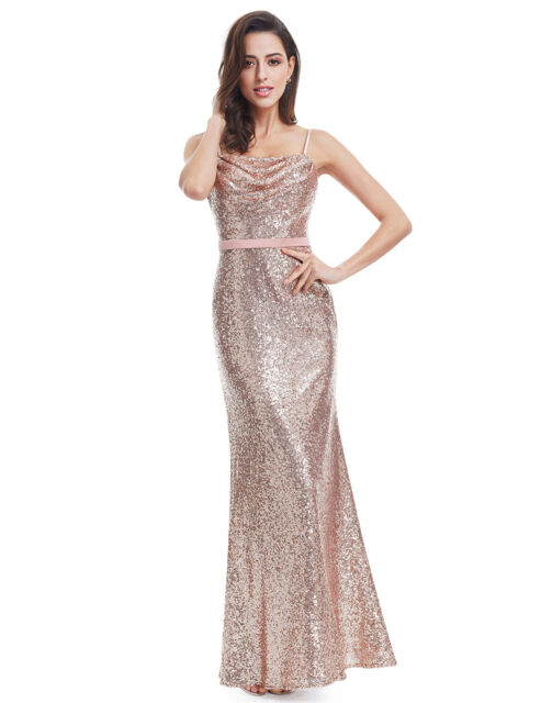Bridesmaid Sequin Dresses Wedding Ball Gown Maxi Evening Party 07087