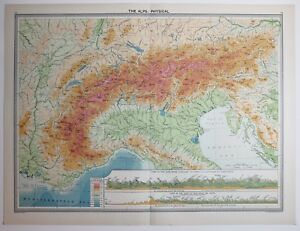 1920 LARGE MAP SWITZERLAND THE ALPS SECTIONAL TRENTINO LOMBARDY