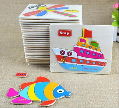 1pc Wooden Blocks Animals Children Educational Toy Puzzle Cartoon Baby Design DC