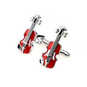 Pair-Fashion-Mens-French-Red-Violin-Design-Cuff-Links-Cufflinks-Jewelry-Gift
