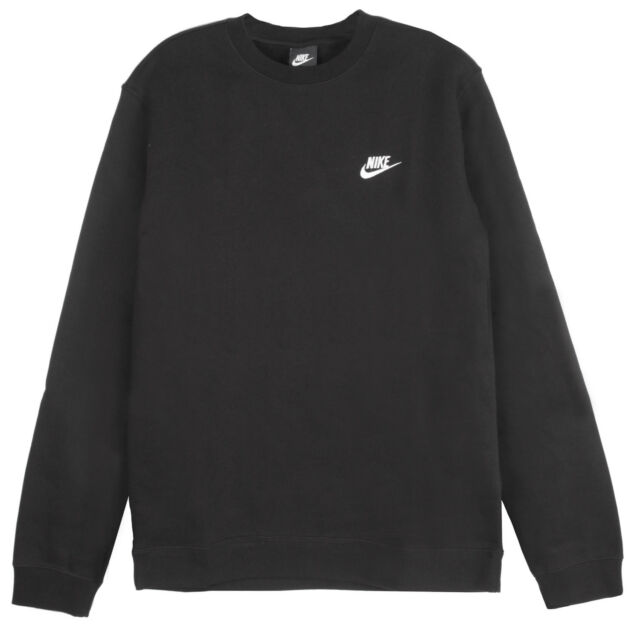 Nike Mens Club Crew Fleece Sweatshirts 804340 Black 010 Xl Ebay