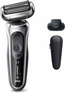 Braun Series 7 7020s Wet & Dry shaver with travel case and 1 attachment, silver