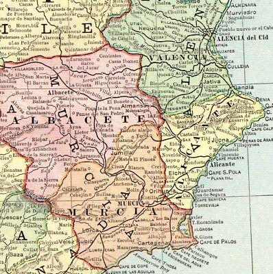 1892 Antique SPAIN & PORTUGAL Map Vintage Collectible Atlas ... on colindres spain, celorio spain, quintanilla spain, chueca spain, piedrahita spain, almodovar spain, samaniego spain,