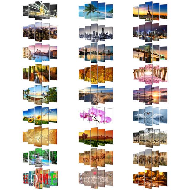 #5tlg. Leinwand Bild Kunstdruck Wandbilder Bilder Set Deco fertig aufgespannt