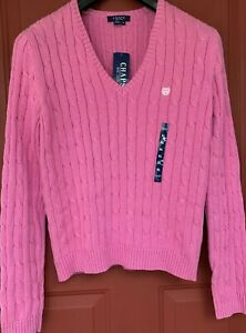 Details about NEW Chaps Classics Womens Sweater Pink Rose Cable Knit V Neck Cotton Size XL