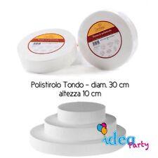 POLISTIROLO TONDO diam. 30 cm h 10 cm disco Cake Designe attrezzatura torta