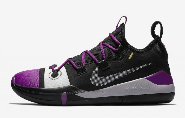 Nike air kobe bryant (esodo nero brillante viola av3555-002 a.d. lakers via