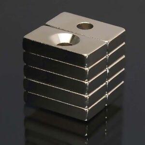 10-100Starke-N50Neodym-Magnete-20x10x4mm-Quadermagnete-mit-Bohrung-Senkung-Buero