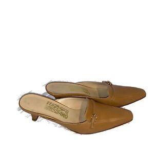 Salvatore-Ferragamo-Women-039-s-Size-7-Pointed-Toe-Mule-Kitten-Heel