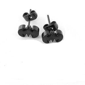1 paire boucle d 39 oreille homme ado neuve bijou acier noir batman chauve souris ebay. Black Bedroom Furniture Sets. Home Design Ideas