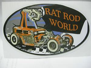 RAT ROD HOT ROD STREET ROD STICKER CHOPPER   RAT FINK VINTAGE RACING OIL GAS