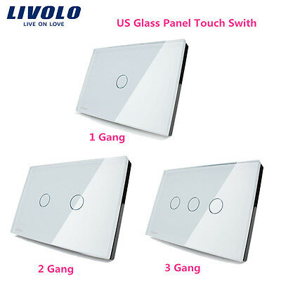 Livolo US Dimmer Remote Touch Switch Smart Sensor Glass Panel 1 2 Way 110-250V