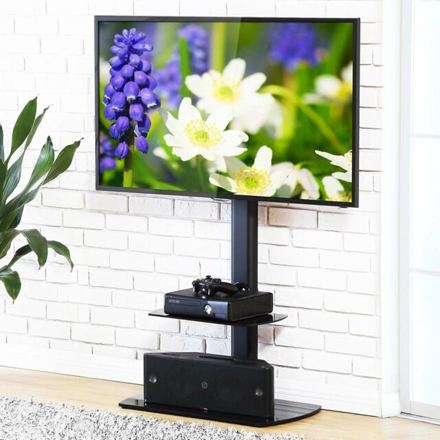 Fitueyes 2 Shelves Swivel Height Adjustable Floor Tv Stand For 32 To