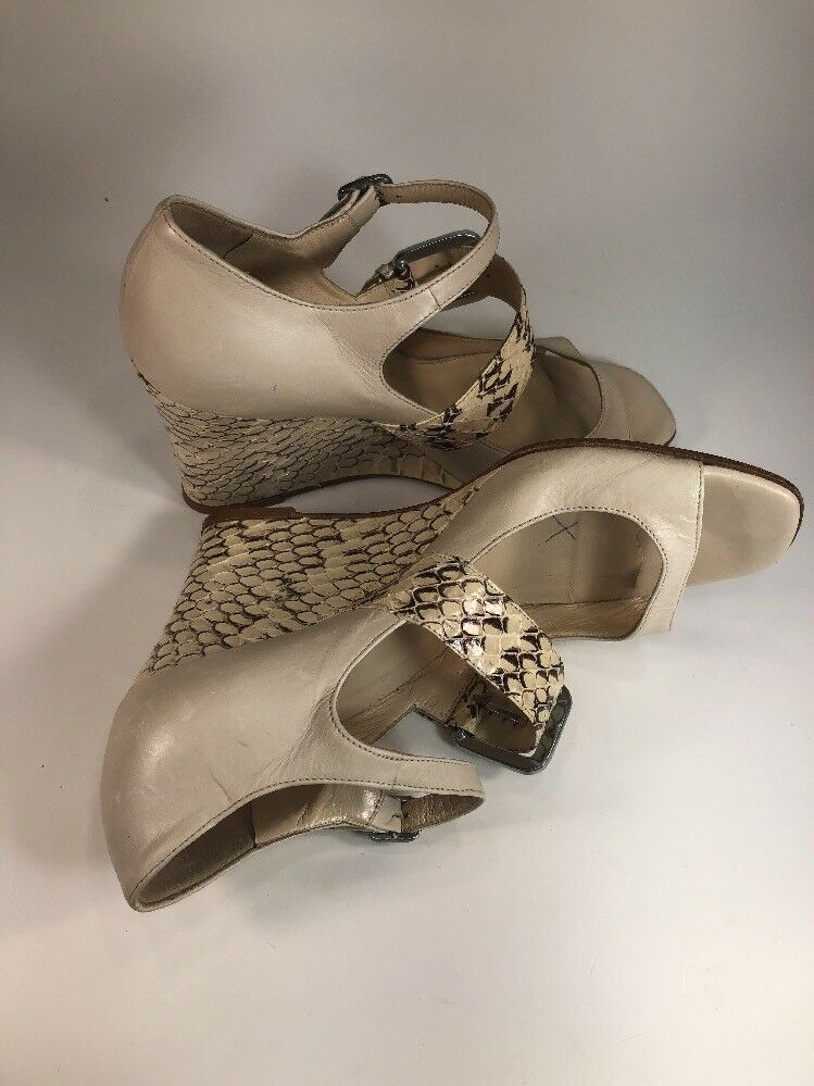 Cole Haan Genuine Snake Skin Skin Skin Beige Leather Buckle Wedges schuhe damen Größe 7 B 826482