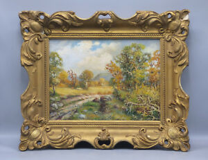 Frank-F-Falk-Autumn-Landscape-Oil-Painting-Illinois-Listed-Artist-Early-20th-C