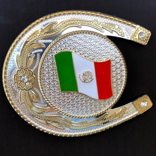 Western Mexico Flag Belt Buckle Big Oversize Cowboy Gold Silver HIGH QUALITY