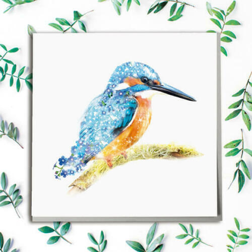 #SN-278 Kingfisher Wildlife Botanical Greeting Card